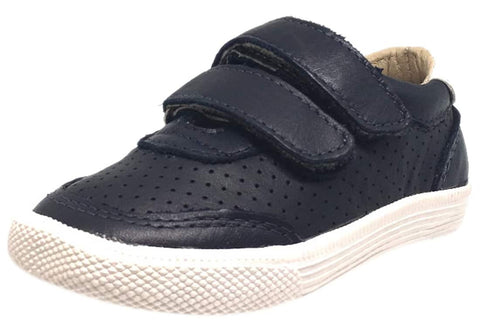 Old Soles Boy's R-Racer Navy Perforated Leather Double Hook and Loop Sneakers