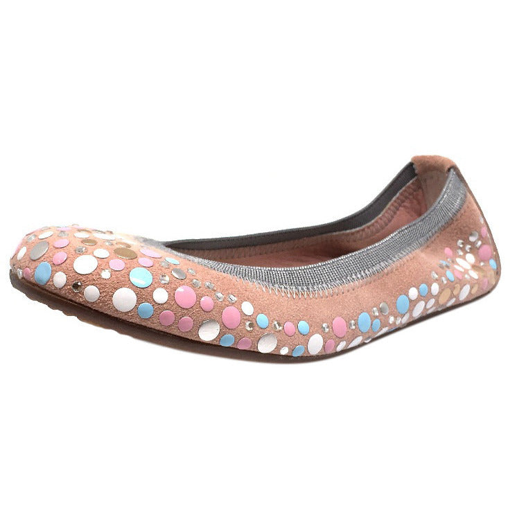 Papanatas by Eli Girl's Pink Soft Suede Gem Sparkle Polka Dot Detail Slip On Ballet Flats - Just Shoes for Kids  - 1