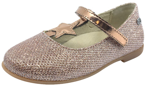 Naturino Girl's 9202 Rose Gold Glitter Hook and Loop T-Strap Mary Jane Flats