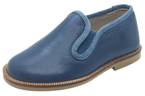 Hoo Shoes Boy's & Girl's Navy Smooth Leather Lined Smoking Loafer Flats