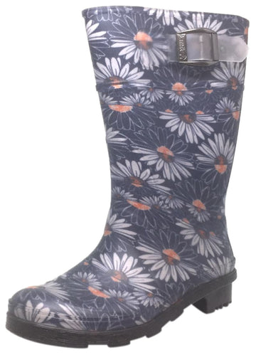 Kamik Daisies Jr Girl's Navy Daisy Print Adjustable Strap Waterproof Rain Boots