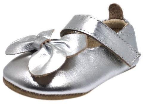 Old Soles Girl's Silver Leather Gab Bow Hook and Loop Mary Jane Crib Walker Baby Shoe