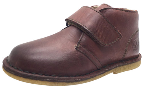 Naturino Boy's 9128 Smooth Leather Classic Mahogany Single Hook and Loop Strap Chukka Ankle Boot