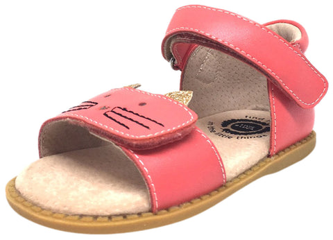 Livie & Luca Girl's Tabby Cat Coral Leather and Sparkle Hook and Loop Open Toe Sandal