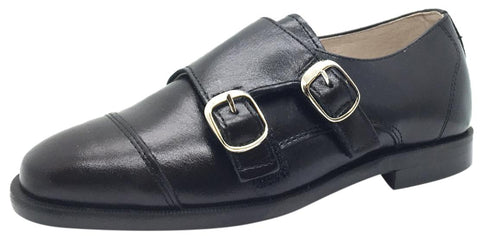 Hoo Shoes Boy's Black Smooth Leather Double Buckle Strap hook and loop Oxford Shoes