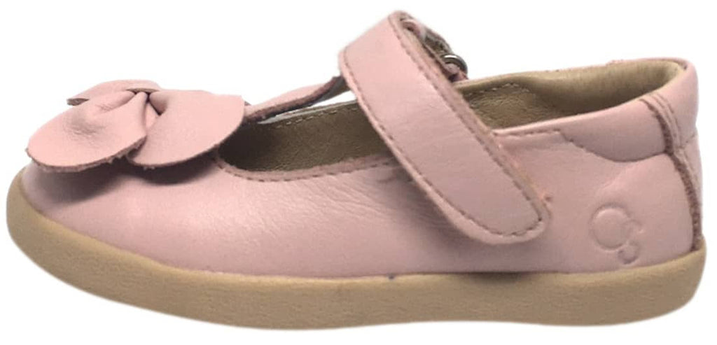 Old Soles Girl's T-Bow Powder Pink Leather Hook and Loop T-Strap Floral Bow Mary Jane Flat Shoe