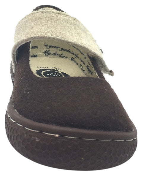Livie & Luca Girl's Carta II Mocha Natural Textile Mary Jane Shoe with Hook and Loop Closure