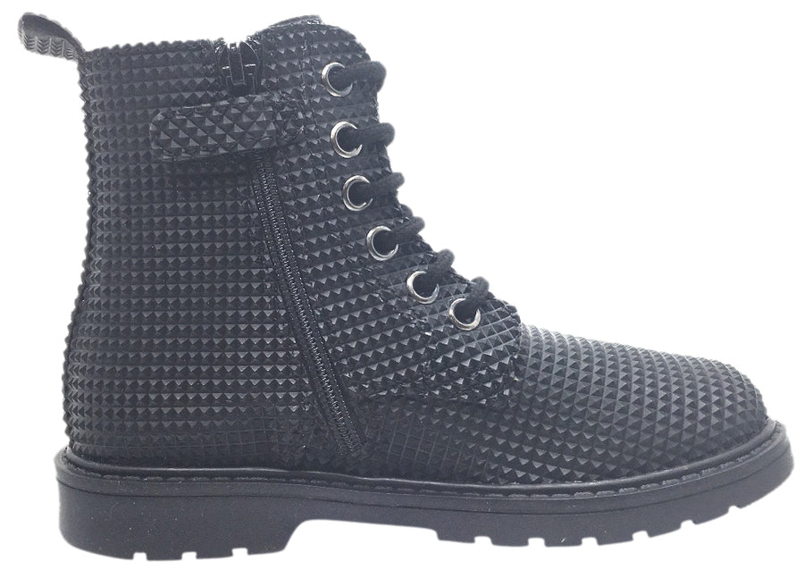 Naturino Girl's and Boy's Black Geometric 3D Leather Combat Laced Boot with Zipper