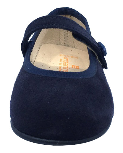 Andanines Girl's Hook and Loop Closure Mary Jane, Navy Suede