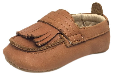 Old Soles Boy's and Girl's Tan Leather Bambini Domain Tassel Fringe Loafer Crib Walker Baby Shoe