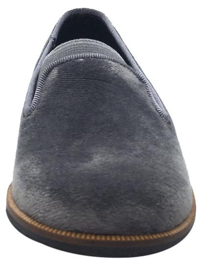 Luccini Boy's & Girl's Grey Velvet Leather Lined Smoking Loafer Flats