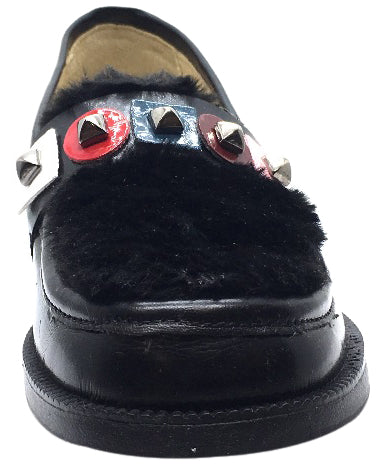 Naturino Girl's 9211 Black Soft Faux Fur Upper Studded Smooth Leather Slip On Platform Loafers