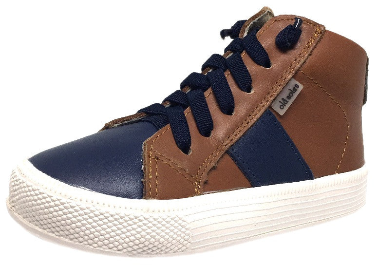 Old Soles Boy's and Girl's Tan Navy Leather Top Shelf High Top Stripe Lace Up Zipper Slip On Sneaker