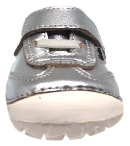Old Soles Girl's and Boy's 4011 Sporty Pave Silver Leather Elastic Laces Hook and Loop Walker Baby Shoe Sneaker