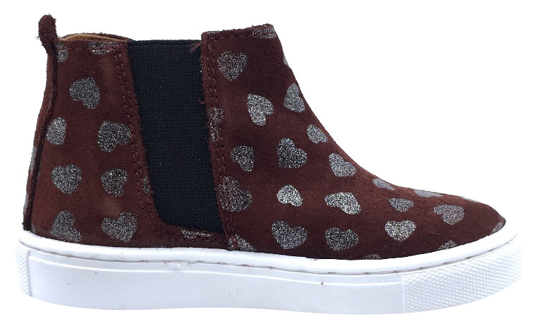 Atlanta Mocassin Girl's Heart Print Suede with Side Zip High-Top Sneakers, Burgundy Heart Print