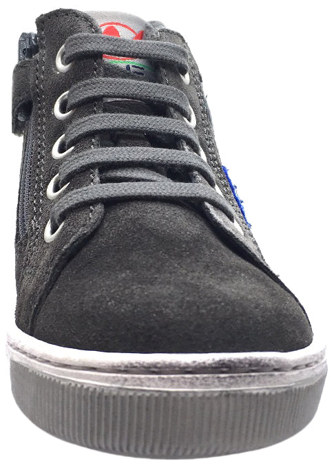 Naturino Boy's and Girl's 9102 Grey Suede Airforce Plane Patchwork Lace Up High Top Sneakers