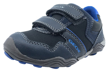 GEOX Boy's Arno Velcro Sneaker Tennis Shoes (Dark Navy/Royal)