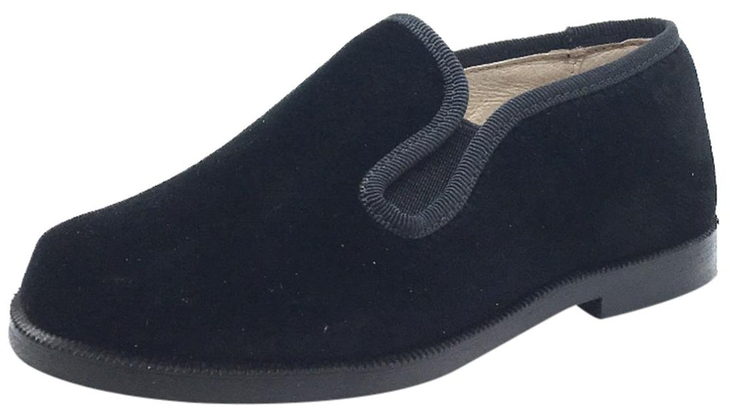 Hoo Shoes Boy's & Girl's Black Velvet Leather Lined Smoking Loafer Flats
