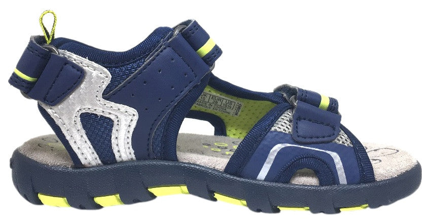 Geox Boy's Pianeta Navy & Lime Single Hook and Loop Strap Open Toe Sandal