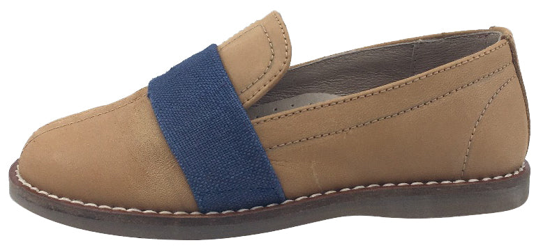 Hoo Shoes Boy's Tan Distressed Leather with Denim Band Slip-On Shoes