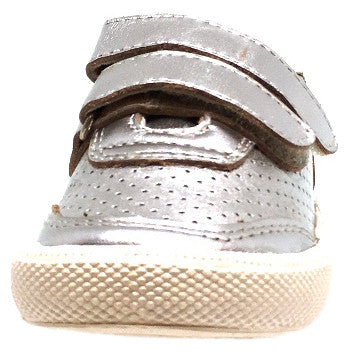 Old Soles Boy's and Girl's R-Racer Perforated Leather Double Hook and Loop Sneakers, Silver - Just Shoes for Kids  - 5