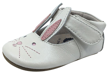 Livie & Luca Girl's Molly White Pearl Shimmer Smooth Leather Hook and Loop Mary Jane Shoe