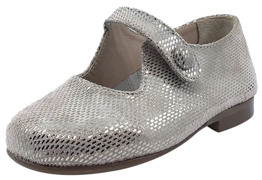 Papanatas by Eli Girl's Taupe Metallic Printed Suede Button Closure Strap Mary Jane Flats