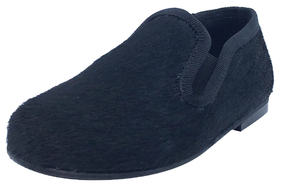 Luccini Boy's and Girl's Slip-On Smoking Loafer (Black Pony Hair)
