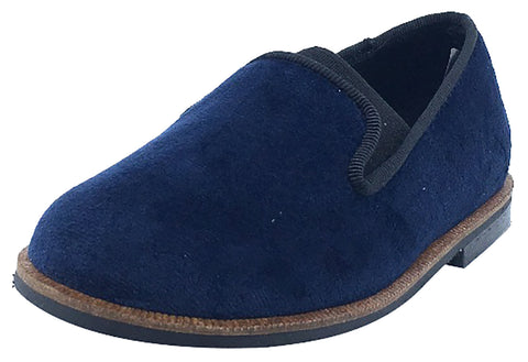 Luccini Boy's and Girl's Slip-On Smoking Loafer (Marino Navy Velvet)