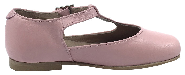 Hoo Shoes Girl's Dee Rose Pink Leather Asymmetrical T-Strap Mary Jane Flat Shoe