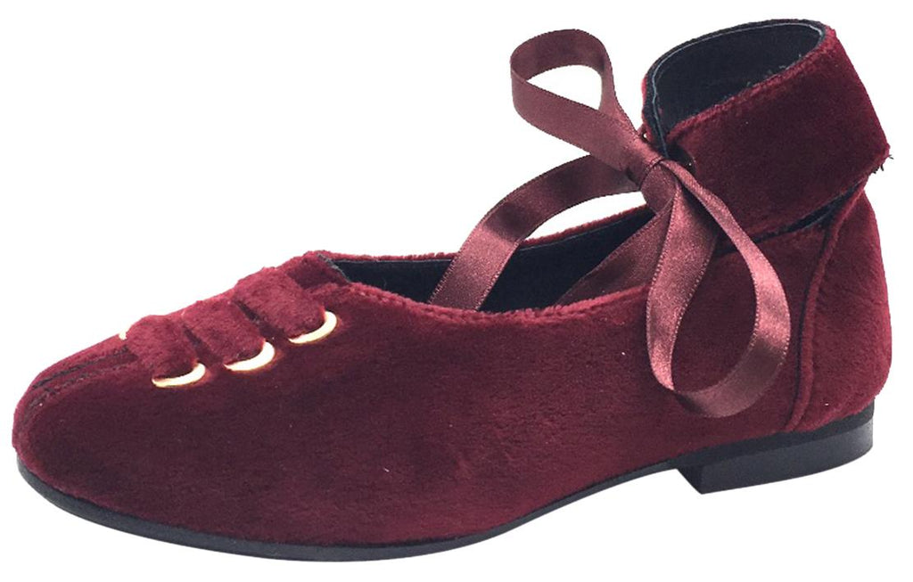 Luccini Girl's Burgundy Velvet Leather Lined Ankle Wrap with Ribbon Tie Dress Flats