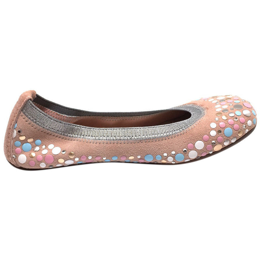 Papanatas by Eli Girl's Pink Soft Suede Gem Sparkle Polka Dot Detail Slip On Ballet Flats - Just Shoes for Kids  - 5