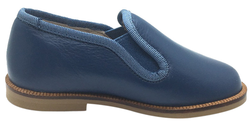 Hoo Shoes Boy's Navy Smooth Leather Smoking Loafer Flats