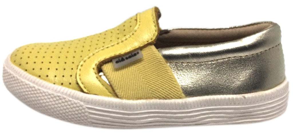 Old Soles Boy's and Girl's 1056 Lemon Gold Perforated Leather Praise Hoff Slip On Elastic Loafer Sneaker