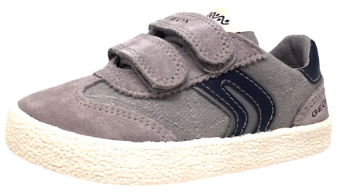 Geox Respira Boy's Suede and Canvas Double Hook and Loop Skater Sneaker Shoes inches, Grey/Navy - Just Shoes for Kids  - 1