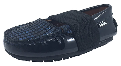Venettini Lily Step-In Shoes Girl's and Boy's Leather Loafers, Navy Patent/Cobalt/Mongo