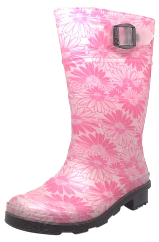 Kamik Daisies Jr Girl's Pink Daisy Print Adjustable Strap Waterproof Rain Boots