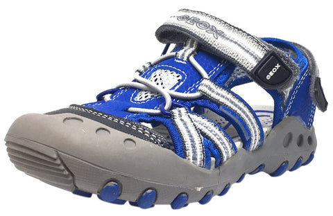 Geox Boy's Kyle Royal Blue & Grey Single Hook and Loop Strap Bumper Toe Sandal
