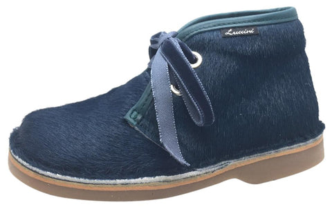 Luccini Girl's & Boy's Blue Pony Hair Lace Up Ankle Chukka Boots with Trim