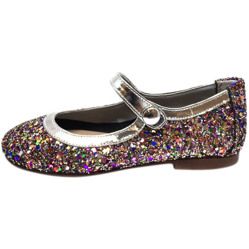 Papanatas by Eli Girl's Bright Silver Multi Glitter Mary Janes Button Flats - Just Shoes for Kids  - 2