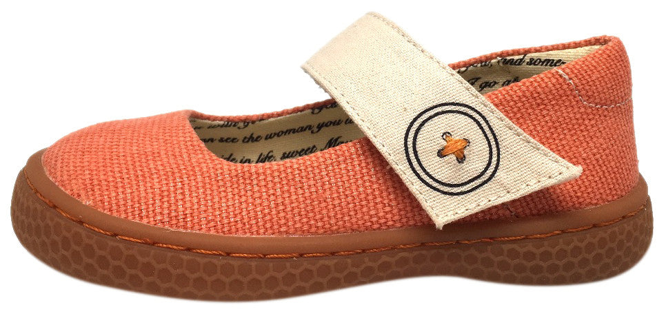 Livie & Luca Girl's Carta II Orange Natural Textile Mary Jane Shoe with Hook and Loop Closure