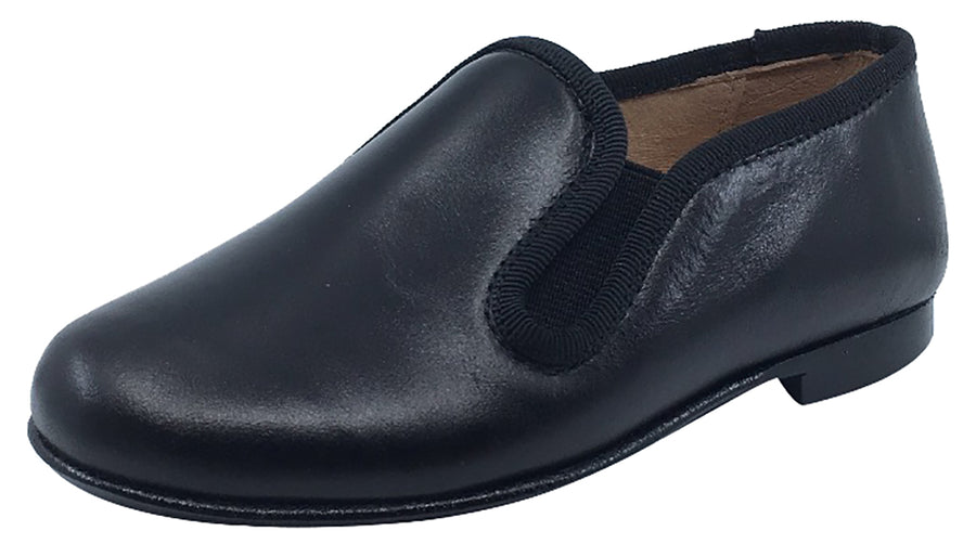 Hoo Shoes Boy's and Girl's Smoking Loafer, Black Leather