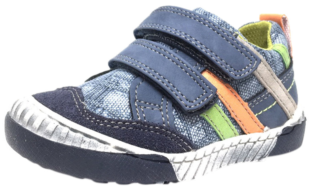 BKO Boy's Zaan II Denim and Navy Canvas Double Hook and Loop Strap Sneaker Shoe