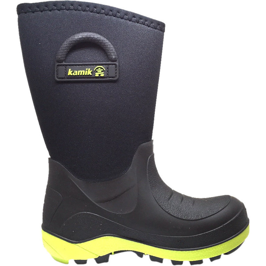 Kamik Bluster Boy's and Girl's Black Waterproof Weather Handles Rubber Rain Boot