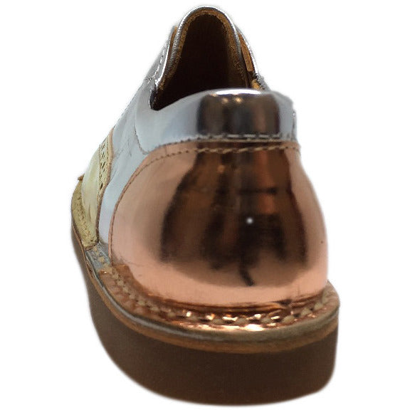 Papanatas by Eli Girl's Silver and Gold Metallic Slip On Oxford Loafer Shoes - Just Shoes for Kids  - 4