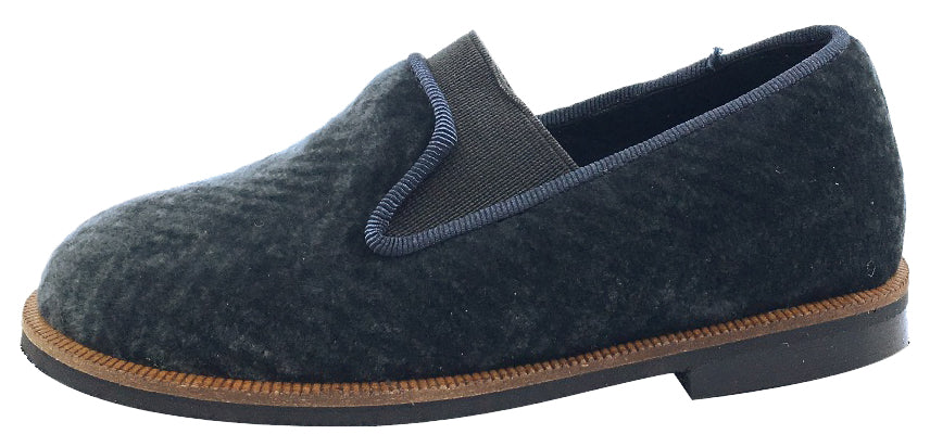Luccini Boy's and Girl's Slip-On Smoking Loafer (Charcoal Espiga Velvet)
