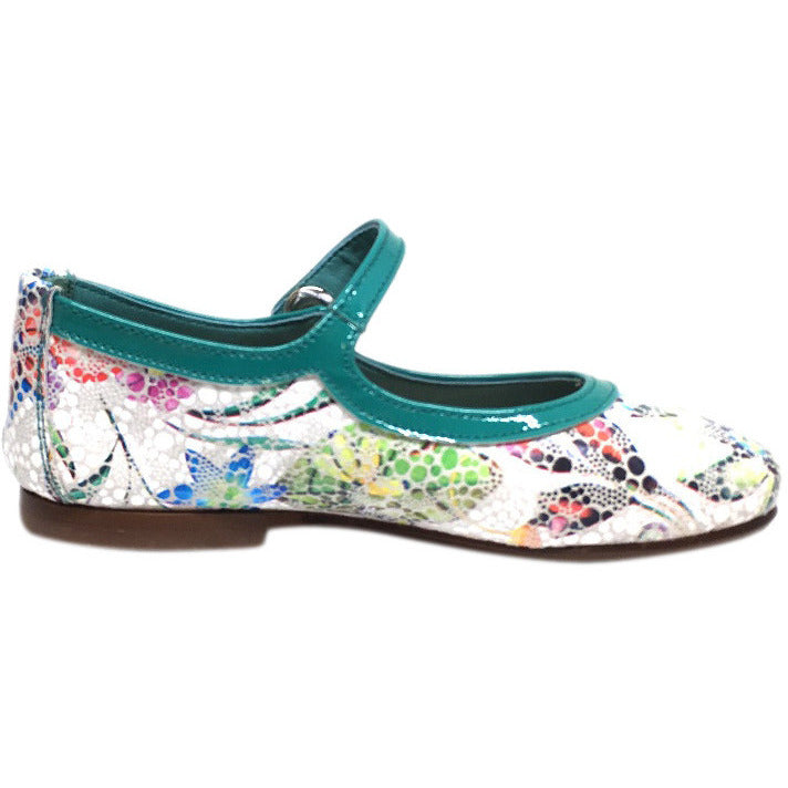Papanatas by Eli Girl's Grey Teal Metallic Floral Print Mary Janes Button Flats - Just Shoes for Kids  - 5