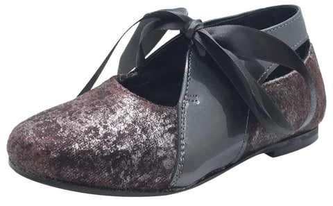 Luccini Girl's Burgundy Cosmic Print Velvet & Grey Patent Leather Ribbon Bow Tie Lace Up Flats