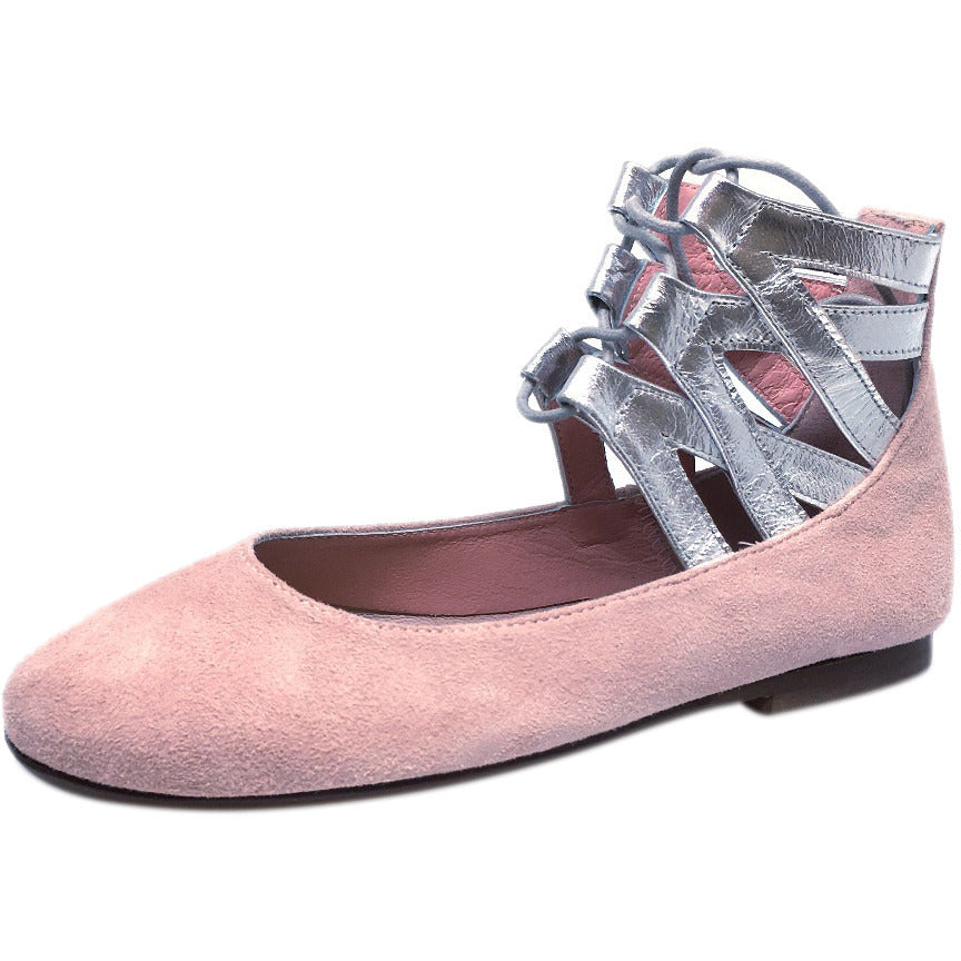 Papanatas by Eli Girl's Taupe Soft Suede Metallic Ankle Strap Ballet Flat Mary Jane 35 EU / 3 M US Little Kid - Just Shoes for Kids  - 1