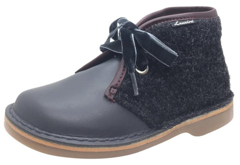Luccini Girl's Grey Leather & Wool Lace Up Ankle Boots with Maroon Trim